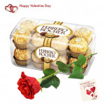 Ultimate Love - Ferrero Rocher 16 Pcs, Artificial Red Rose & Card