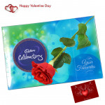 Choco Rosy - Cadbury Celebration 118 gms, Artificial Red Rose & Card
