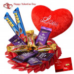 Pillow of Love - 10 Assorted Cadbury Bars, Small Heart Pillow & Valentine Greeting Card