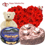 """Valentine Royal Gift - 30 Red Roses Heart + Chocolate Heart Cake 1 kg + Teddy 6"""" + Danish Butter Cookies + Card"""