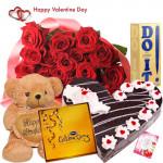 "Valentine Special Hamper - 50 Red Roses + Teddy 10"" + Do It Perfume + Black Forest Cake 1 kg + Cadbury Celebration + Card"