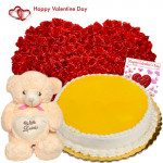"Valentine Life Size Love - 100 Roses Life Size Arrangement 3 to 4 Feet + Heart Teddy 12"" + Pineapple Cake 1 kg + Card"
