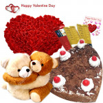 Be My Valentine - 75 Red Roses Heart + Hugging Teddy + 3 Temptations + Black Forest Heart Cake 1 kg + Card