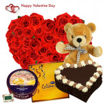 "Full of Surprises - 50 Red Roses Heart Shape + Cadbury Celebration + Teddy 24"" + Chocolate Heart Cake 1 kg + Danish Butter Cookies 454 gms + Card"