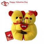 """Hug Me - Hugging Teddies 8"""" + Valentine Greeting Card"""