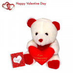 "Lovely Heart - Teddy with Heart 6"" + Valentine Greeting Card"