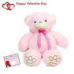 """Pink Valentine - Pink Teddy 12"""" + Valentine Greeting Card"""