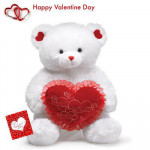 "Only For You - Teddy with Heart 24"" + Valentine Greeting Card"