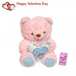 "Adorable Pink - Pink Teddy with Heart 6"" + Valentine Greeting Card"
