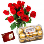 Birthday Chocos - 15 Red Roses in Vase, 16 pcs Ferrero Rocher and Card