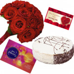 Delightful Chocolates - Celebrations 121 gms, 18 Red Roses in Bunch, Black Forest Cake 1/2 kg and Card