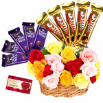 Choco Magic - 25 Mix Roses in Basket, 5 Dairymilk, 5 Five Stars and Card