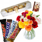 Choco Mix - 20 Mix Roses in Vase, Snickers, Mars, Bounty, Twix, Ferrero Rocher 4 Pcs and Card