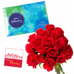 Rose n Chocos - Celebrations 121 gms, 24 Red Roses and Card