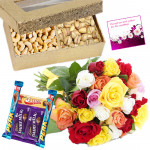 Nuts Special - Cashew & Pista 200 gms, 5 Assorted Chocolates , 12 Mix Roses in Bunch & Card