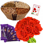 Rose n Nuts - Assorted Dryfruit Basket 200 gms, Dairymilk 5 pcs, 12 Red Roses in Bunch & Card