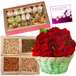 Sweets n Nuts - 24 Red Roses in Basket, Kaju Katli 250 gms, Assorted Dry fruits 200 gms & Card