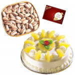 Grand Surprise - Pinapple Cake 1 kg, Pista 200 gms in Basket & Card