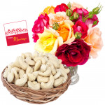 Red n White - Cashew 200 gms in Basket, 12 Mix Roses in Vase & Card