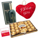 Special Delight - Ferrrero Rocher 24 pcs, Heart Shaped Pillow, Royal Mirage Perfume and Card