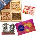 Special Hamper - Assorted Dryfruits 400 gms, Celebrations 121 gms, Laxmi Ganesh Idol & Card