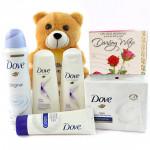 Soft Dove - Dove Shampoo, Dove Conditioner, Dove Face Wash, Dove Soap, Dove Deo, Teddy 6 inches and Card