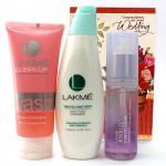 Lakme Combo - Lakme Clean Up Fresh Fairness Face Wash, Lakme Gentle And Soft Deep Pore Cleansing Milk, Lakme Absolute Pore Fix Toner and Card