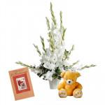 """Lovely Gladiolus - 12 White Gladiolus Basket + Teddy 8"""" + Card"""