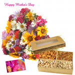 Wonderful Combo - 20 Mixed Carnations Bunch, 200 gms Assorted Dryfruits and Card