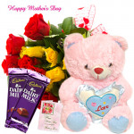 "Wonderful Gift for Mom - Bunch of 20 Red & Yellow Roses, Teddy with Heart 6"", 2 Dairy Milk and Card"