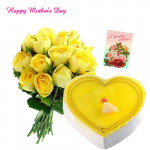Yellow Fever - Bunch of 15 Yellow Roses, Pineapple Heart Cake 1 kg and Card